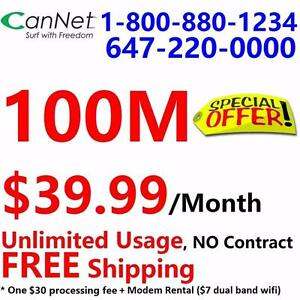 100M Unlimited Cable internet $39.99,No contract, one time $30 install, $7/month for dual band wireless modem rental