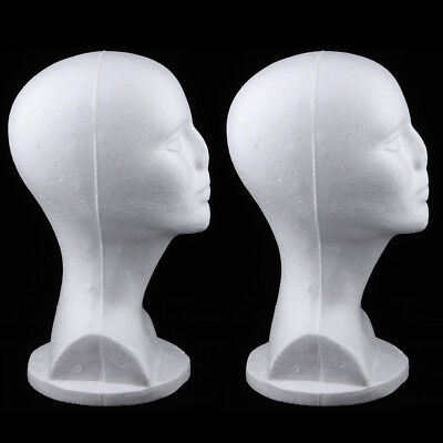 2pcs White Styrofoam Foam Mannequin Manikin Head Wigs Glasses Display Stand