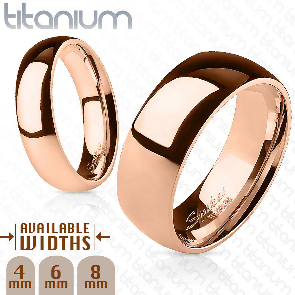 Polished Rose Gold Ion Plated Solid Titanium Ring Band Ring