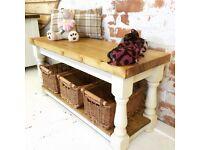 Handmade Basket Storage Bench/ Coffee Table