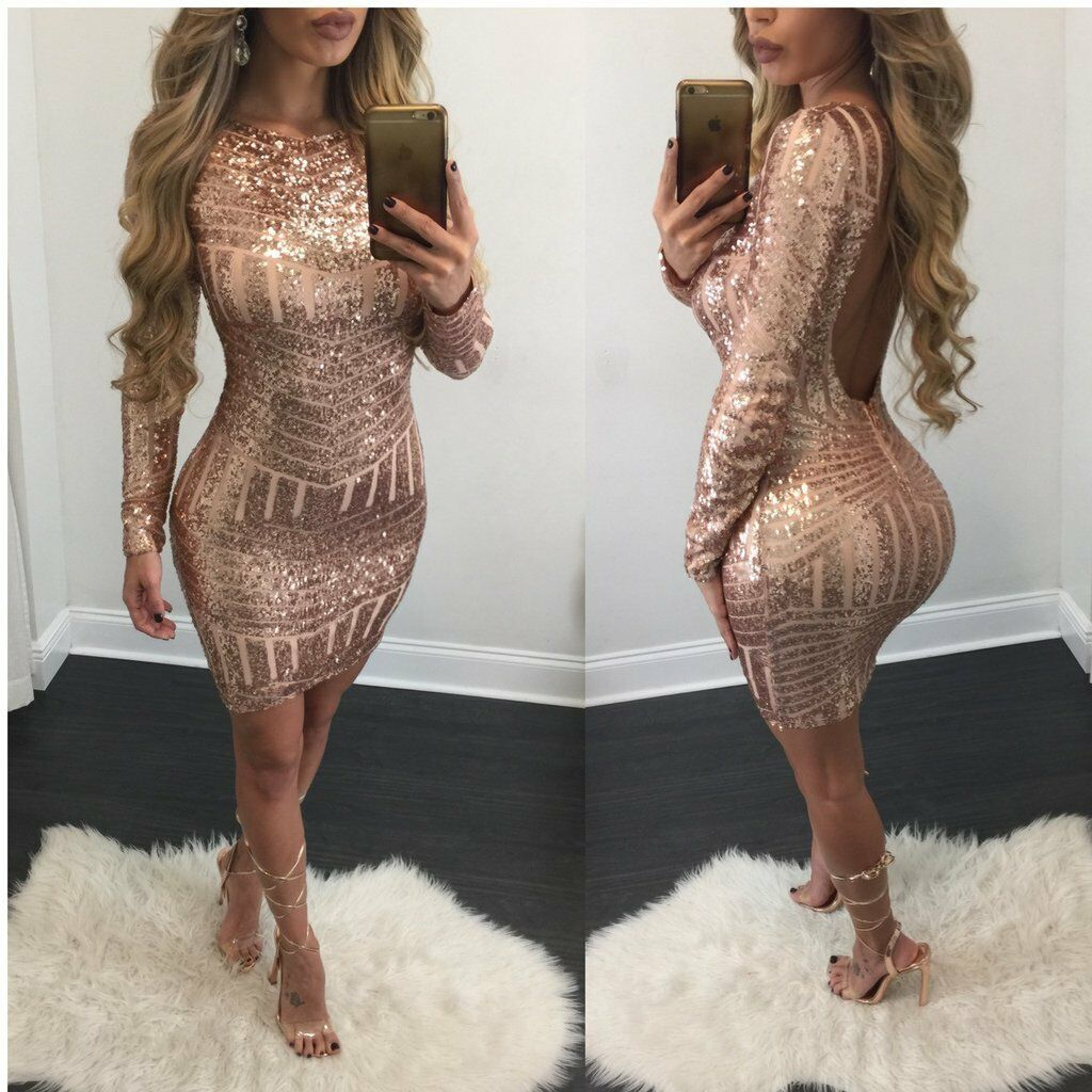 Dress - Women's Bandage Bodycon Long Sleeve Club Party Cocktail Mini Dress Backless