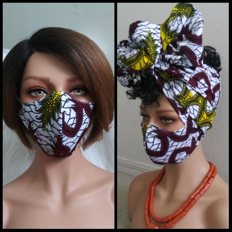 African Ankara Print Turban Scarf Mask-Headwrap Set