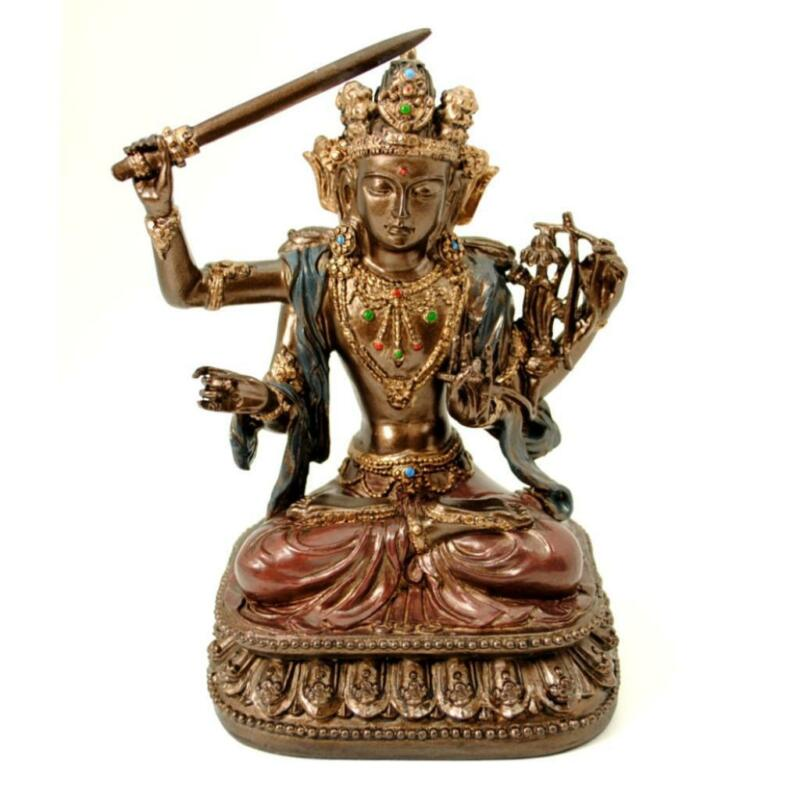 "MANJUSHRI STATUE 5.25"" Buddhist Bodhisattva of Transcendent Wisdom Resin Buddha"