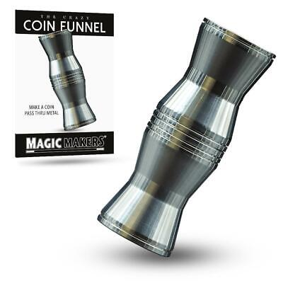 Pro CRAZY COIN FUNNEL Metal Silver Close Up Magic Trick Penetration Pass Through