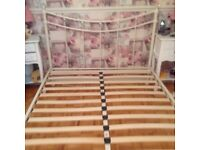 NEXT double bed in white crystal finials excellent condition