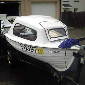 12.5 Foot Colewood Craft Fishing Boat, 4hp Two Stroke Outboard and Trailer