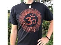 spirit - OM on flower of life, T-shirt (handmade) vegan