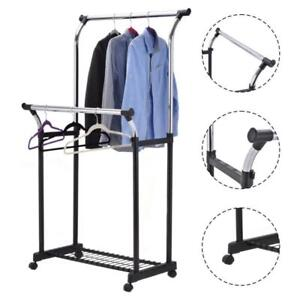 Double Rail Adjustable Garment Rack Rolling Clothes Hanger w/Shoe Rack Portable - BRAND NEW - FREE SHIPPING