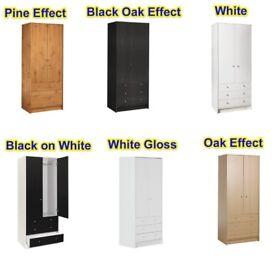 Malibu 2 Door 3 Drawer Wardrobe in Pine, Black Oak, White, Black on White, White Gloss & Oak Effect