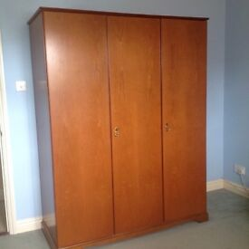REDUCED - NOW JUST £50 Stag Cherry Veneer 3 door wardrobe - Sturdy, good quality & condition