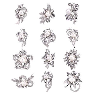 12 Stück Strass-Brosche-Set Modeschmuck Blumen-Hochzeits-Brosch und Pin mit