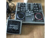 Numark tottal control with headphones and connection box
