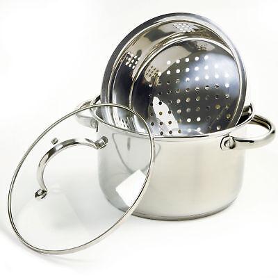 Norpro 2022 Steamer Cooker W/Glass Lid 4 Quart 18/10 Stainless Steel 3 Piece Set