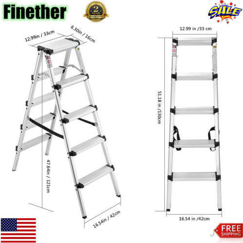 5 Step Ladder Folding Steel Anti-Slip Double Sided Heavy Dut