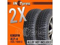 2x 155/70R13 Kingpin Alp4 UG4 Tyres 155 70 13 Shore 60 Autograss Rally Track x2