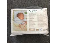 9 packs of NATY size 1 baby nappies (26pc each)