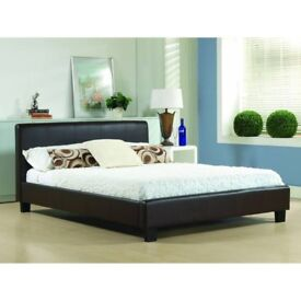 *SPECIAL PROMO OFFER* NEW DOUBLE LEATHER BED w 9 INCH DUAL-SIDED SEMI ORTHOPEDIC DEEP QUILT MATTRESS