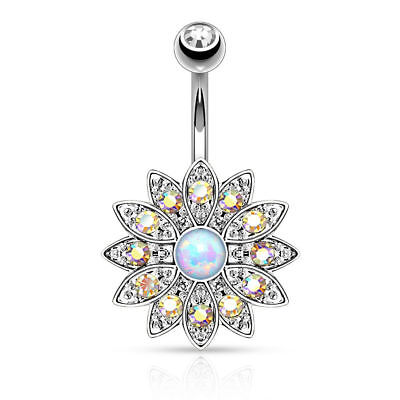 Body Piercing Color Crystal Opal Silver Belly Button Ring Navel Barbell - Crystal Silver Barbell