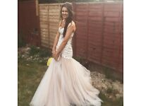 Sherry Hill prom dress, size 6/8, white lace& dusky pink fishtail, worn once great condition