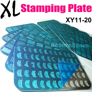 10pcs-BIG-Full-French-Nail-Stamping-Plate-XL-Stamp-Image-Print-Transfer-Template