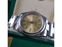 New Mens bagged silver Bracelet yellow dial automatic sweeping Rolex oyster watch
