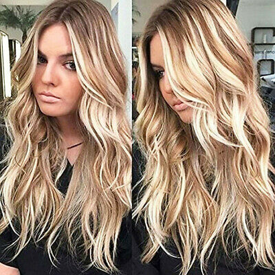 Long Hair Costume Wigs (Womens Curly Long Wig Hair Wavy Ombre Blonde Natural Synthetic Full Wigs)