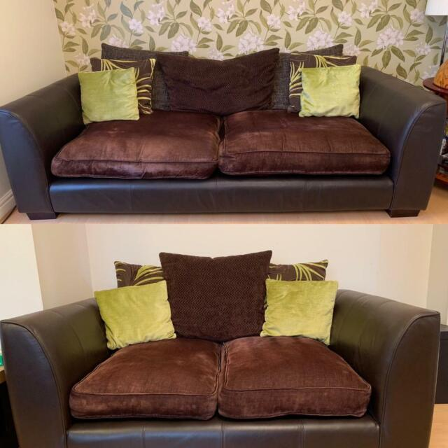 Brown leather/cloth sofas for sale | in Norwich, Norfolk | Gumtree