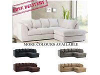 New Cheap Free Delivery Fabric Corner Sofas Jumbo Cord Foam Filled Couch
