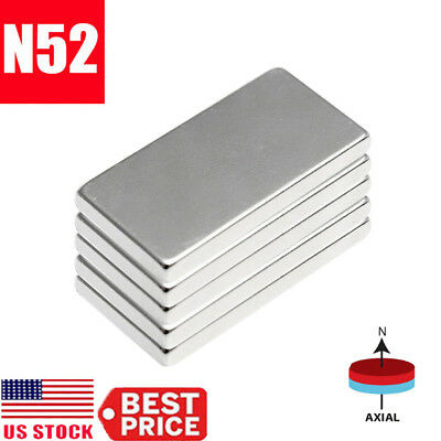 1-50Pcs N52 20x10x2mm Neodymium Block Magnet Super Strong Rare Earth Magnets Lot (52 20)