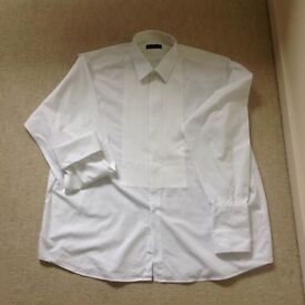 "Men's black tie shirt, with double cuffs. Size 18 1/2 "" (47cm) collar."