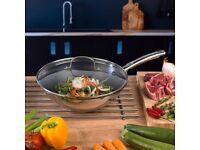 Thomas 1404908 Cook & Pour Teflon Wok Stir Fry Pan with Tempered Glass Lid, 28 cm, Stainless Steel