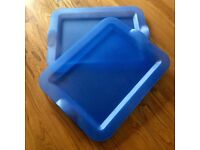 2 x Ikea Blue Plastic Trays With Moulded Handle