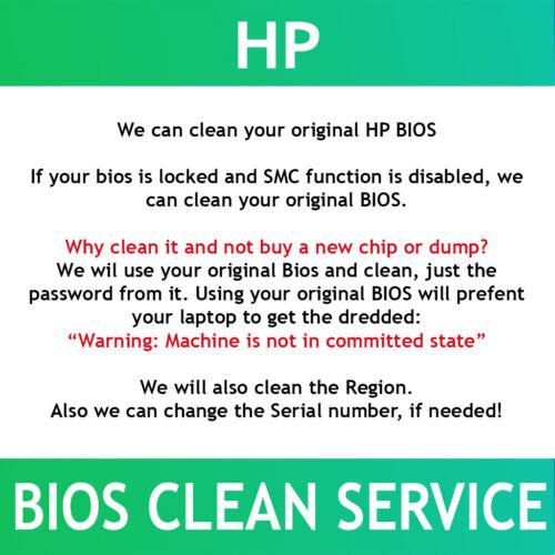 HP G5 BIOS Password reset / unlock / clean service . SMC alternative. Fast!