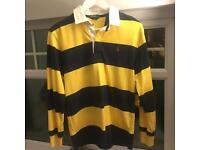 RALPH LAUREN - Navy & Yellow Rugby Polo Shirt (SIZE Small)