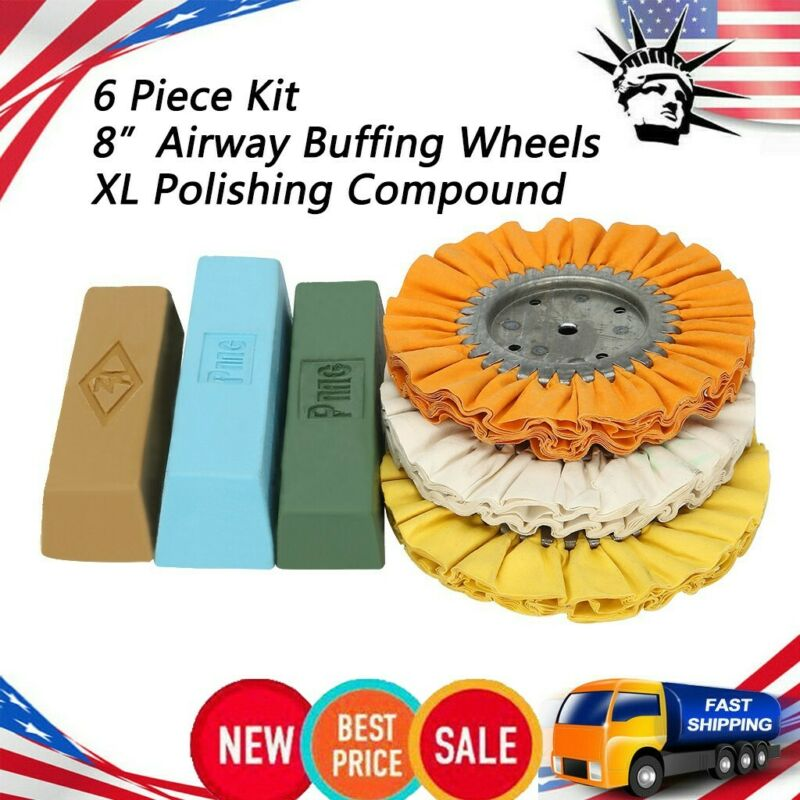 New 6 Piece Polishing Compound Kit For Buffing Wheels Made in USA