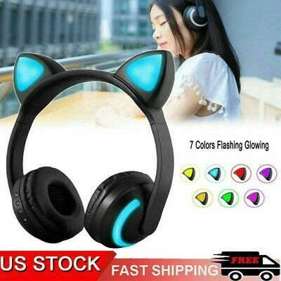 Bluetooth Wireless Cat Rabbit Ear Headsets LED Headphones For Kids Girls