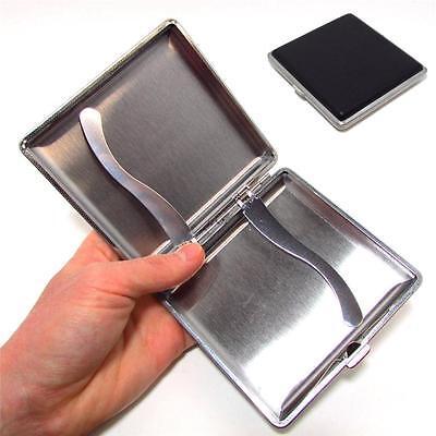 Black Pocket Leather Metal Tobacco 20 Cigarette Smoke Holder Storage Case - Cigarette Holders