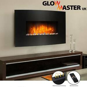 WALL MOUNTED CURVED GLASS ELECTRIC FIREPLACE FIRE HEATER SLIM DESIGN FLICKER