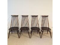 4 Vintage Mid Century Ercol Goldsmith Dining chairs