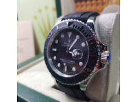 Rolex Yacht-Master 2. Silver Case with Black Rubber Strap and Black Face. Boxed with Paperwork.