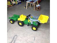John deere tractor with scoop and trailor (unused)