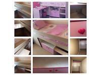 Children's MidSleeper Bed with Pull Out Desk, Hidden Play Den/ Storage