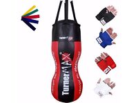 TurnerMAX Body Punching Bag Or Training Punch Bag With Inner Gloves And Stretch Band Red/Black