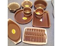 Set of earthenware oven to table cooking set