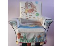 Beautiful Child's Armchair hand-painted with a dog and duckling theme.