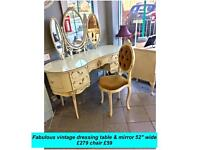 Vintage kidney shaped dressing table with optional chair