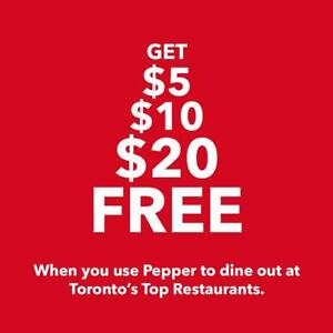 Get $5, $10, $20, $50 FREE Every Time You Eat at Torontos Best Restaurants using Pepper! Click Here to Learn More