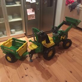 John Deere Rolly Junior Kids Digger With Excavator and Trailer