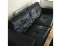DFS Black Leather 3 Seater Sofa - Good Condition