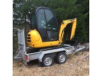 JCB8014 Mini Digger Excavator and Indespension Trailer